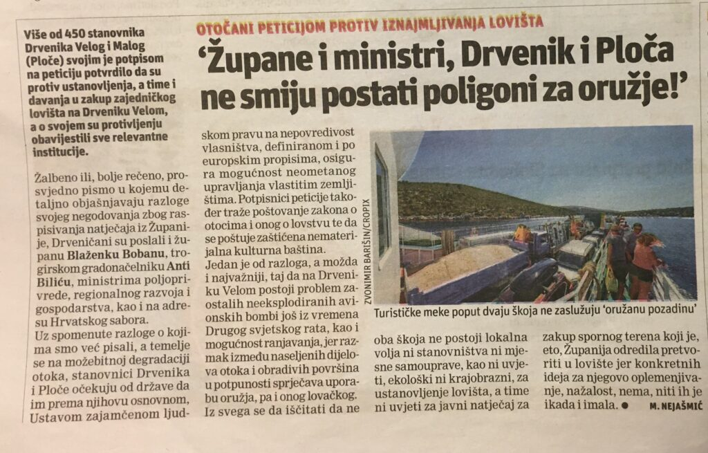"Slobodna Dalmacija 04.09.2020 ""Župane i ministri, Drvenik i Ploča ne smiju postati poligoni za oružje!"""